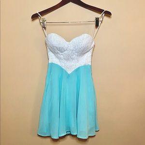 Xenia Boutique   Strapless White Lace & Mint Dress